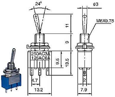Přepínač páčkový - LVDK358