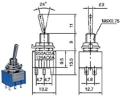 Přepínač páčkový - LVDK375