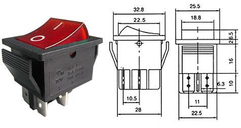 Přepínač kolébkový - LVDK381
