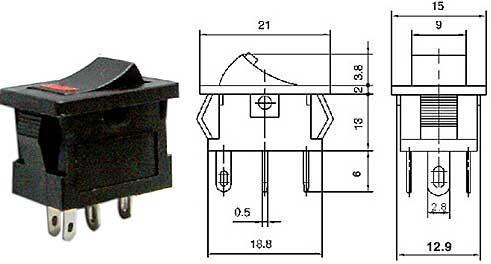 Vypínač kolébkový - LVDK383