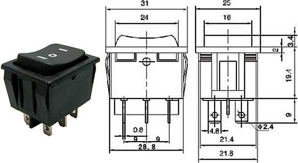 Přepínač kolébkový - LVDK462