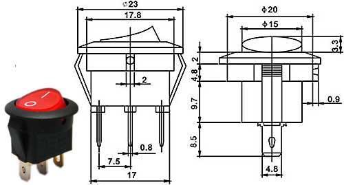 Vypínač kolébkový - LVDK487